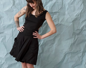 Black jersey dress. Stretchy, flowy--easy fit, any size. Skirt and tank set, high waisted skirt with cropped tank. Ecofriendly pocket dress.