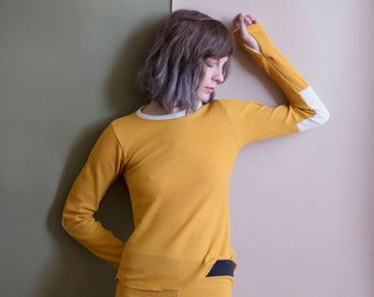 MARIGOLD Thermal Jammies, pajama sets or separates. Long sleeve and thumbhole waffle knit top and matching thermal leggings.