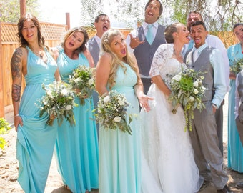 All Tailored Infinity Dress custom SIZES & COLORS Convertible  Multiway Boho Vintage Woodland Wedding teal slate mauve dusty blue rosegold