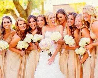 Couture Bridesmaids Tailored Infinity Multiway dress  Hundreds of colors custom size/length slate dusty blue sage rosegold rose ivory silver