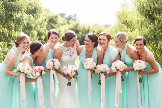 like twobirds blush dusty rose pink blue teal gold Upscale Infinity Convertible Dress ALL TAILORED size length and straps  Beach Wedding