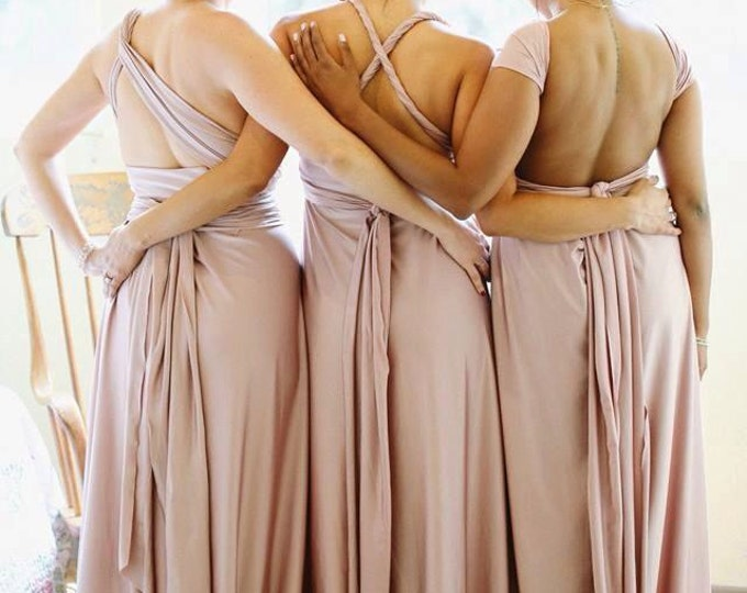 Made in the USA by hand Fiercely Perfect Radical Thread Infinity Dress Multiway Convertible Dresses Rosegold Blush Rose Champagne Taupe Sage