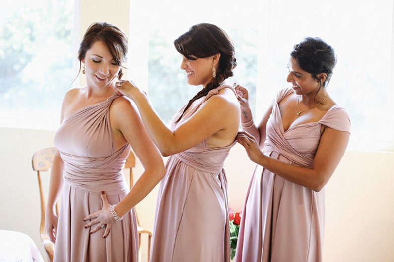 Upscale Tailored Infinity Dress Multiway Convertible Dresses Wedding Free swatches  Rosegold Blush Rose Taupe Sage Dusty Blue Made in USA