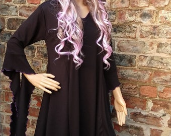 b8da0009b6b217 Goth Dark Hibiscus Babydoll Style Dress with Pixie Hood ~ Gothic ~ Medieval  ~ Elven ~ Druid ~ Sizes 6 to 30