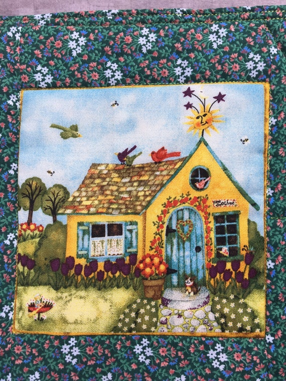 House on the Hill Quilted Mug Rug Snack Mat