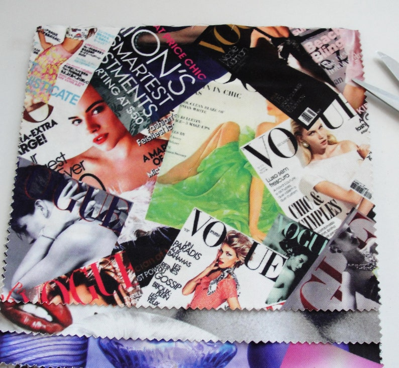 Marilyn Monroe, Vogue, Michael Jackson, Graffiti, Pinup, Vintage Ads,  Steampunk Fabric 18 Sample Pieces