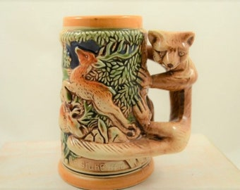 Vintage Stein with Fox Handle Made in Japan 1950s German Style Deer and Boars