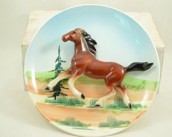 Vintage Horse Wall Plaque 3D Horse Plate Made in Japan 1950's Hand Painted Galloping Horse Wall Decor