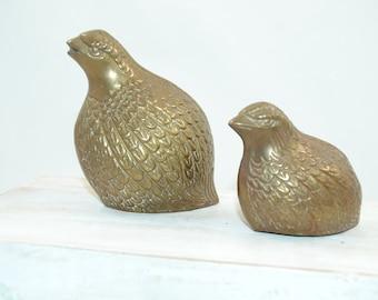 Vintage Brass Quails  Partridge Fowl Set of 2 Solid Brass 1980s
