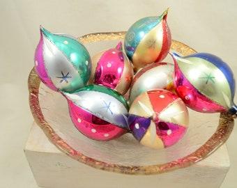 Vintage Christmas Ornaments Set of 7 Christmas Ornaments Tear Drop Shape Stamped Poland