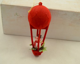 Vintage Flocked Christmas Ornament Red Hot Air Balloon with Snowman