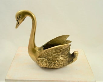 Vintage Brass Swan Planter Handcrafted in Korea Small Plants Succulents 1960s
