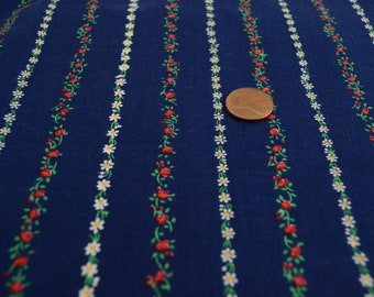 Vintage Cotton Fabric Navy Blue with Rows of Tiny Flowers Yardage 1980s Quilting Sewing Crafting