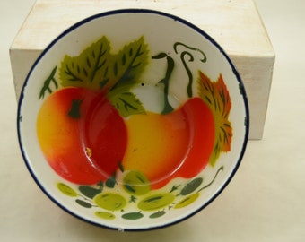 Vintage Enamel Bowl Fruit and Vegetable Design Bowl Small 1950s Colorful