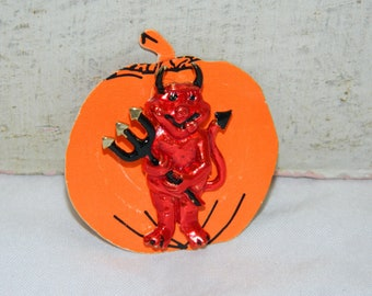 Vintage Devil Pin Halloween Brooch Horned Devil with Pitchfork Pin Red Devil New Old Stock