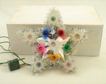 Vintage Star Tree Top Liberty Bell Christmas Made in Taiwan 11 Lights 1970s Silver Tinsel Multi Colored Lights