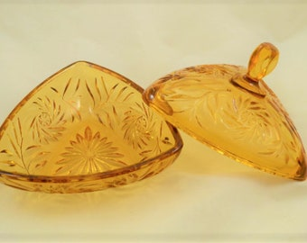 Vintage Amber Pressed Glass Triangle Shape Lidded Candy Dish