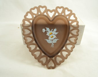 Vintage Brown Frosted Glass Trinket Dish Heart Shaped Westmoreland Style Daisy Center Outlined In Hearts