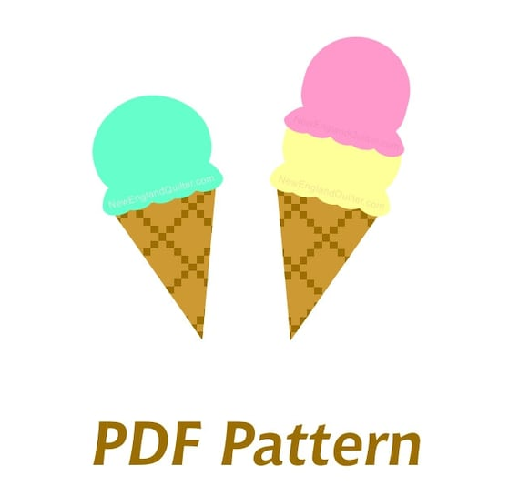 Ice cream cone applique pdf sewing pattern quilt block etsy image 0 maxwellsz
