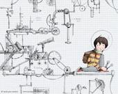 Children's Wall Art Print - Mechanically Minded - Kids Nursery Room Decor