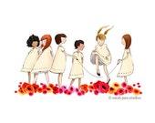 Children's Wall Art Print - Poppies - Kids Nursery Room Decor