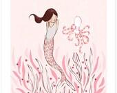Children's Wall Art Print - The Mermaid & The Octopus - Girl Kids Nursery Room Decor