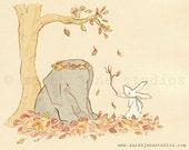 Children's Wall Art Print - Wellesley and Winslow, Autumn Leaves - Kids Nursery Room Decor