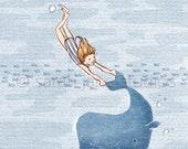 Children's Wall Art Print - Whale Dreams (Girl) - Kids Nursery Room Decor