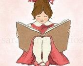 Children's Wall Art Print - Read With Me (Pink B) - Girl Kids Nursery Room Decor