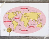 Children's Wall Art Print - Nautical Map (Pink & Yellow) - Kids Nursery Room Decor