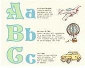 Children's Wall Art Print - ABC Things That Go - Kids Nursery Room Decor