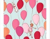 Children's Wall Art Print - Balloons - Girl Kids Nursery Room Decor