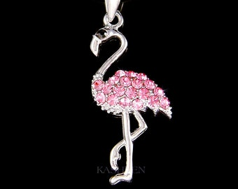 Swarovski Crystal Pink Flamingo Charm Necklace Bird Nature Lover Pendant Chain Jewelry Christmas 17th 18th 20th 30th 40th Birthday Gift New