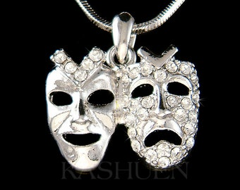 Swarovski Crystal Clear Comedy & Tragedy Mask Theater Play Acting Broadway Masquerade Charm Necklace Jewelry Christmas Best Friend Gift New