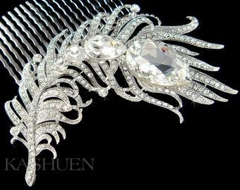 "Swarovski Crystal 4 1/4"" Peacock Feather Bridal Wedding Head Piece Hair Comb Headpiece Pin Vine Accessory Fascinator Jewelry Ready to Ship"
