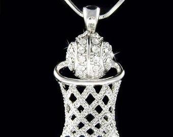 CZ Diamant Basketball Reifen Netz Anhänger Halskette | Etsy