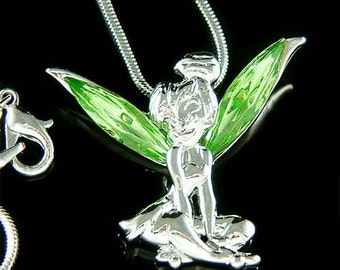 Tinker Bell from Peter Pan ~ Etched Gold-plated Sterling Silver 1 size Pendant with Chain Necklace