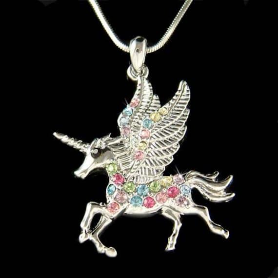 93de3858a68aa5 Arcobaleno cristallo Swarovski Pegasus corno unicorno fata | Etsy