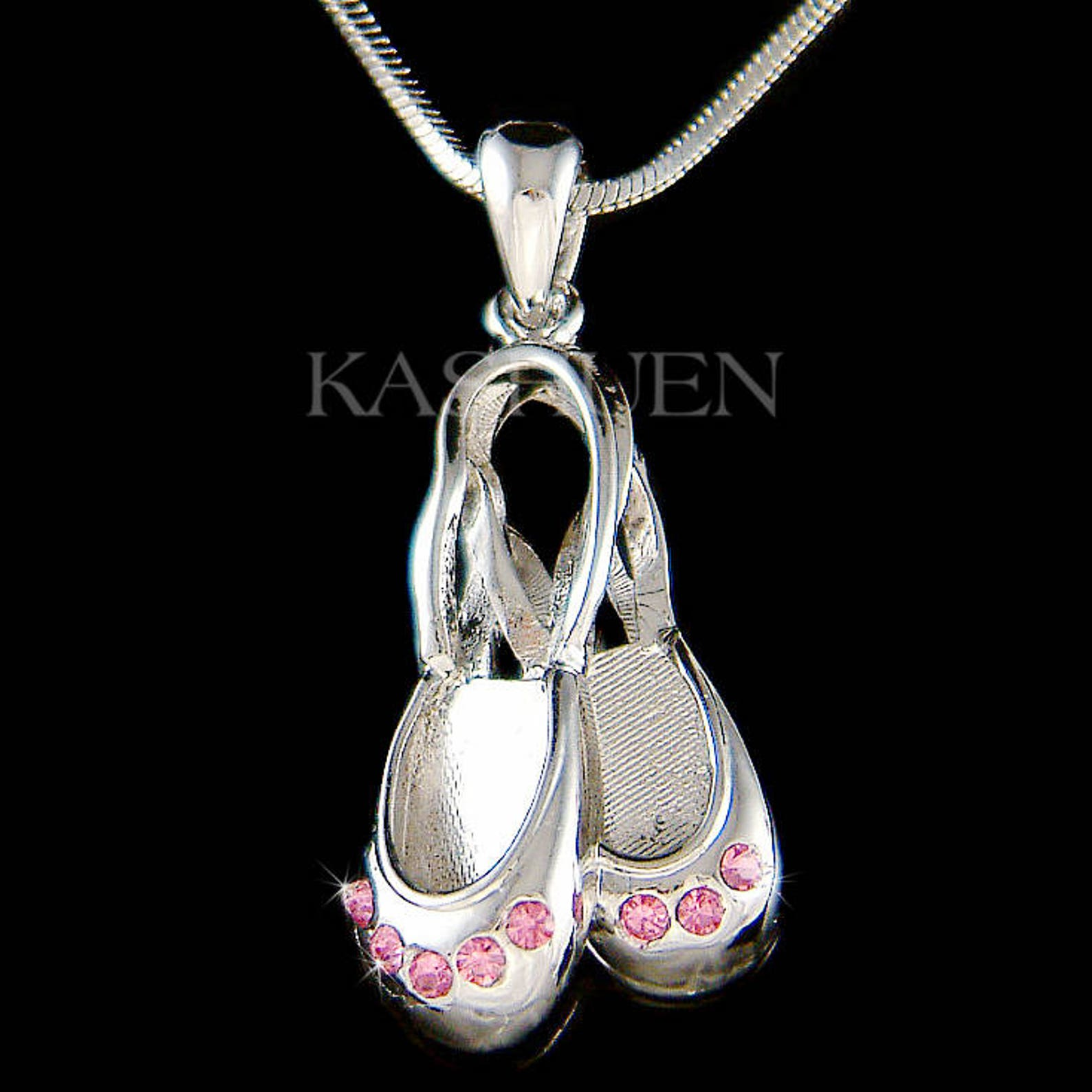 swarovski crystal pink ballerina slippers ballet dance shoes pendant chain necklace jewelry best friend teacher student christma