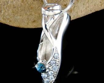 Swarovski Crystal Blue BALLERINA Ballet Dance Shoes Slippers Charm Pendant Necklace Christmas Gift