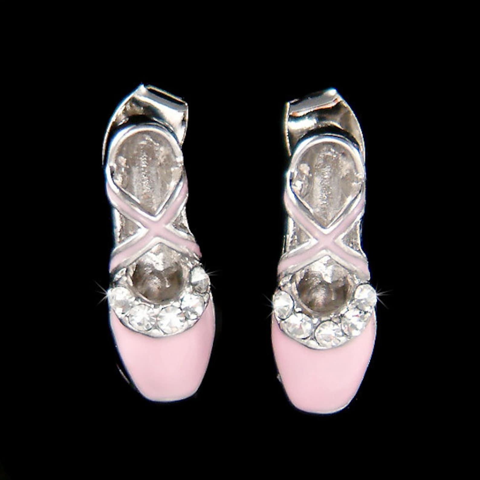 swarovski crystal pink enamel paint ballerina shoes slippers ballet dance earrings christmas gift new jewelry the nutcracker swa