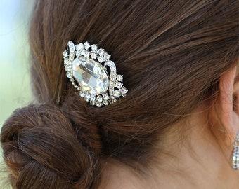 Swarovski Crystal Big Oval Flower Curve Line Sparkling Bridal Head Piece Headpiece Clip Hair Comb Fascinator Accessory jewelry Ready to Ship