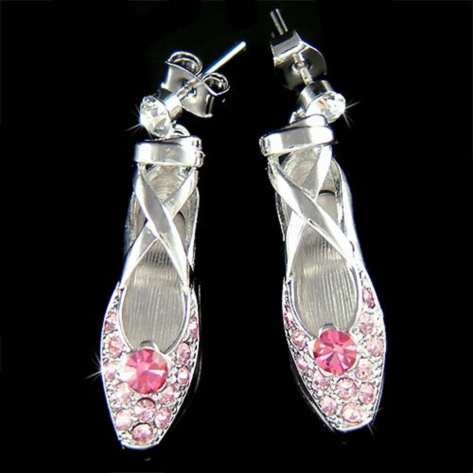 pink swarovski crystal ballerina shoes slippers ballet dance earrings christmas gift new for the nutcracker swan lake lover
