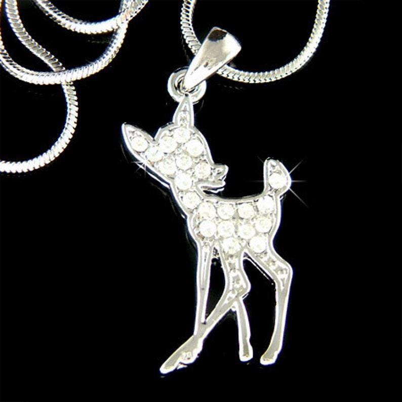 Dainty Cadeau Fauve Collier Chaîne Noël Anniversaire Meilleur Bijoux Crystal Mignon Swarovski Joli Charme Ami Cerf Pendentif Filles Bambi Femmes L534jAR
