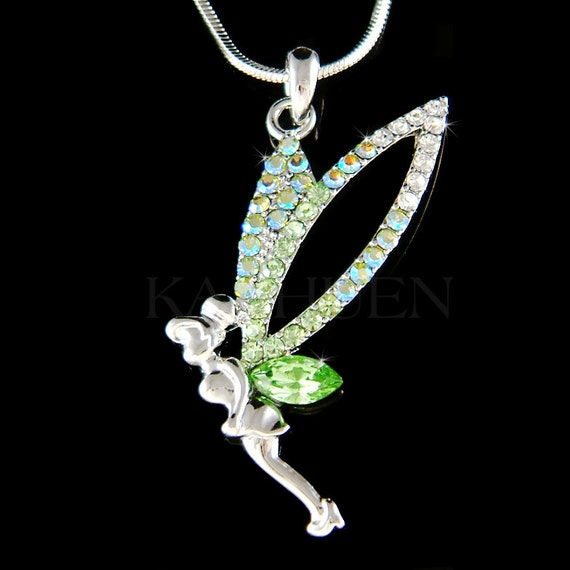 Disney Tinkerbell Fairy Green Crystal Wing Pendant and Necklace Tinker Bell