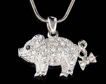 Swarovski crystal Cute Pig Piggy Piglet Bow Lover Charm Pendant Chain Necklace Christmas Best Friend Gift New