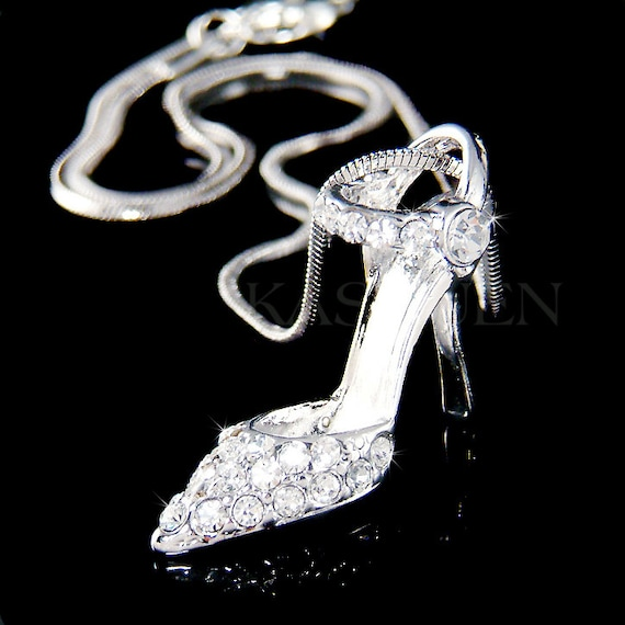 Charm Gift Lady Shoe Cinderella Shoes Heel Pendant Necklace Crystal High