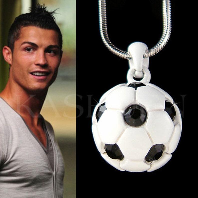 Cristal de Swarovski negro blanco fútbol 3D fútbol bola  857bb6a84bcf9