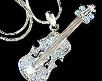 Swarovski Crystal Baby Blue Violin Viola Cello Fiddle Musical Charm Chain Pendant Necklace Jewelry Christimas Best Friend Musican Gift  New