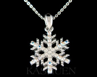 Swarovski Crystal SNOWFLAKE Snow bridal Wedding Holiday Charm Fine Cable Chain Necklace Jewelry Best Friends Mother's Day Christmas Gift New